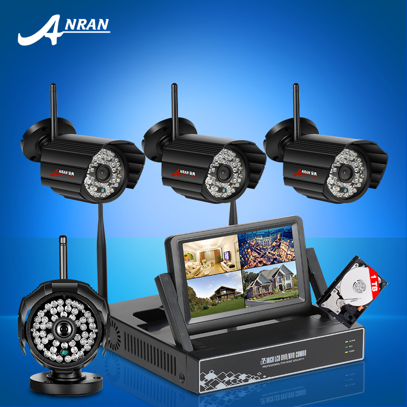 Plug and Play 4CH Wireless NVR CCTV System 7 Inch Screen 720P IP Camera WIFI waterproof Home Security Surveillance Kit 1TB HDD(China (Mainland))