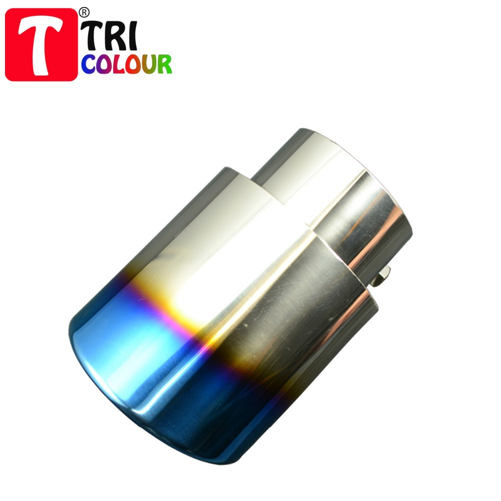 (Tricolor Muffler) Sport Design Bluing Chrome Stainless Steel Auto End Pipe Exhaust Muffler Straight 76mm Universal fit #LW34