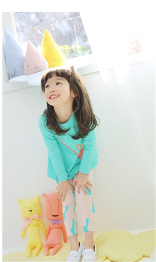 Hot !!! Cotton T-shirt + Flower Leggings Baby Girl Clothing Candy Color Long Sleeve Kids Clothes Sets 2-7Y Free Shoping(China (Mainland))