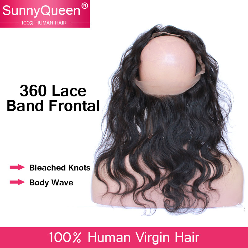 Grade 8A 360 Lace Band Frontal Closure Malaysian Virgin Hair Lace Band Frontal With Baby Hair Bleached Knots Natural Hairline(China (Mainland))