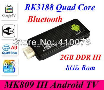 MK809 III RK3188 rk3188t Quad Core TV Box Rockchips 3188 Google Androd 4.2 Mini PC TV Stick 2GB 8GB Built-in Bluetooth Wifi 3D