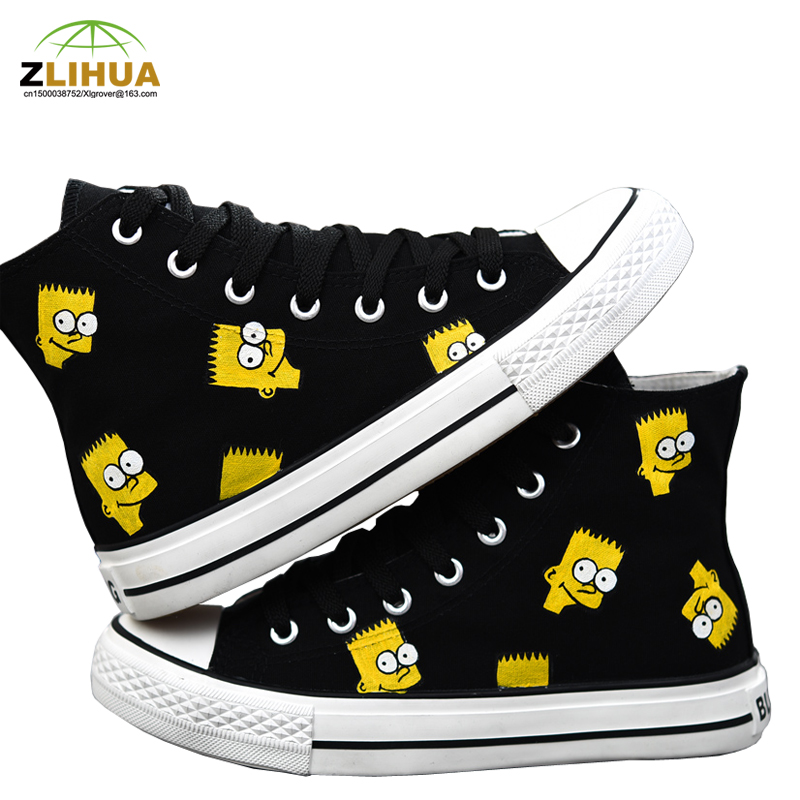 LUC Kids Boys Girls Baby Totoro Sunflower Bone Bay Max Doraemon Cat fish Simpson Bay Max Fox High Top Hand Painted Canvas Shoes<br><br>Aliexpress