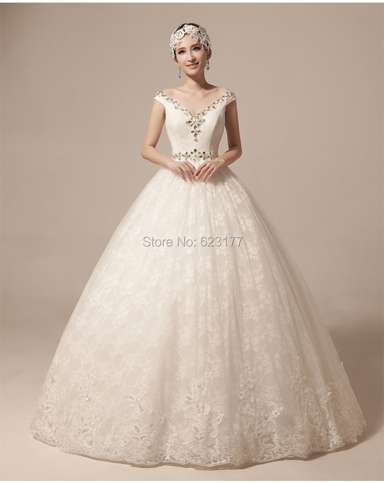 Buy yayiku high quality luxury crystal for Plus size off the shoulder wedding dress