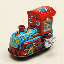 New Arrival Reminiscence Children Vintage Wind Up Tin Toy Clockwork Spring Locomotive Classic Toys For Kids(China (Mainland))