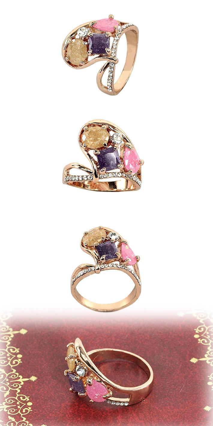 старинный дизайн и красочные горный хрусталь сплава циркония роза Золотой цвет кольца для женщин bf-010