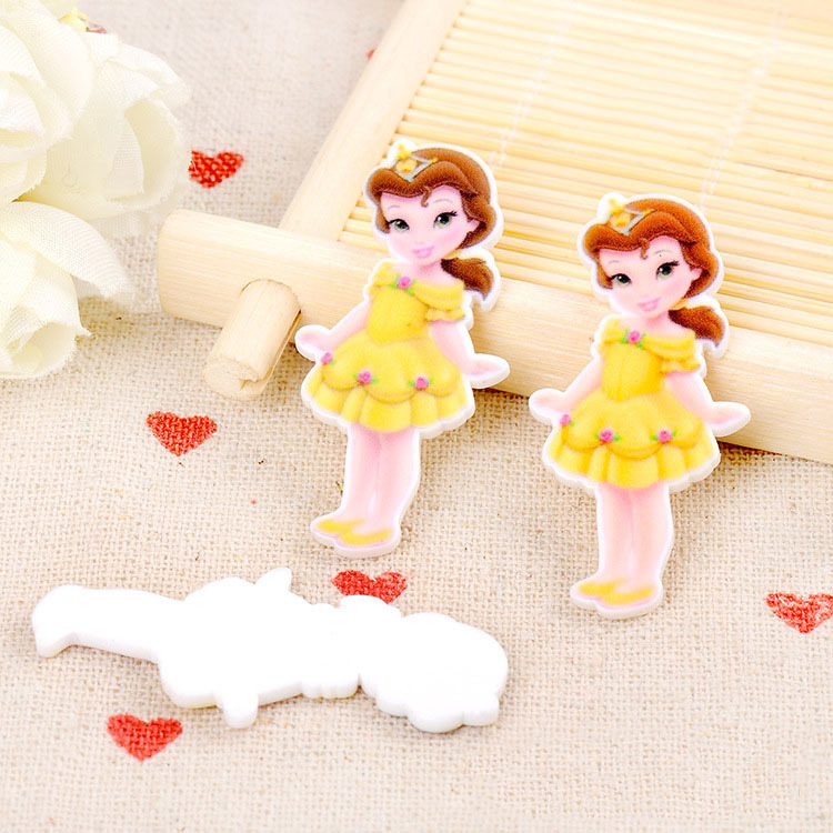 diy crafts Beauty and the Beast baby Belle princess Figurine garden decoration flatback planar resin hair accessories Handicraft(China (Mainland))