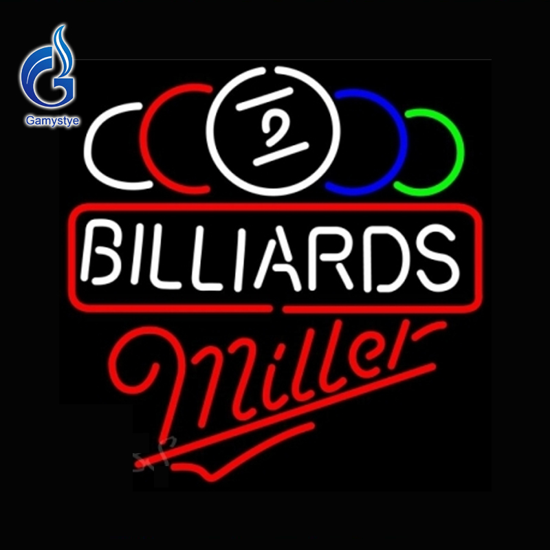 Neon Sign Miller Ball Billiards Pool Neon Bulb Affiche Lamp Lighted Glass Tube Tube Glass Neon Affiche Custom Neon Light 17x17(China (Mainland))