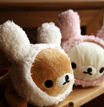 Kawaii Rabbit Rilakkuma Bear Plush Pen Pencil BAG Pouch Case ; Size 22*9CM Coin Purse & Wallet BAG Pack Pouch; Gift School BAG(China (Mainland))