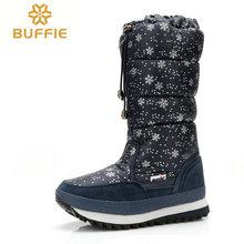 Para mujer de la rodilla botas 2016 botas calientes de tamaño grande con la piel invierno venta caliente mujer botas marca botas de nieve caliente invierno de la señora zapatos(China (Mainland))