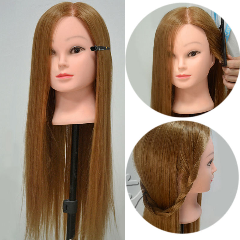 """Hot sale 26"""" 30% Real Human Hair Training Head Cosmetology Mannequin Doll + Table Clamp C90(China (Mainland))"""