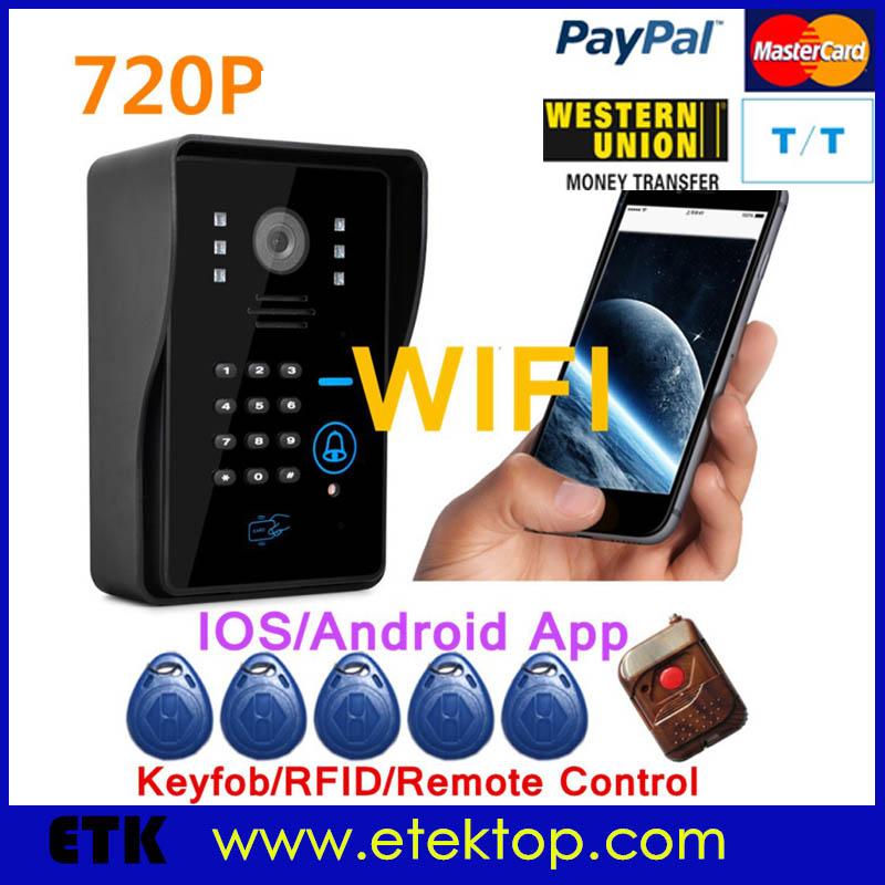 Smart Wifi Video Doorbell Wireless IP Digital Doorphone HD IR Camera Two-way Intercom RFID Keypads IOS Android APP support PIR(China (Mainland))