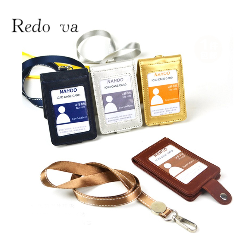 Top grade PU Leather Badge holder Lanyard Business Double Bank Credit Card Holder case Bus ID Card holders Customized Print logo(China (Mainland))