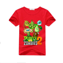 2016 Summer and Spring plants vs zombies short Sleeve Cotton boys clothes children t shirt  Kids clothing Girls tees tops