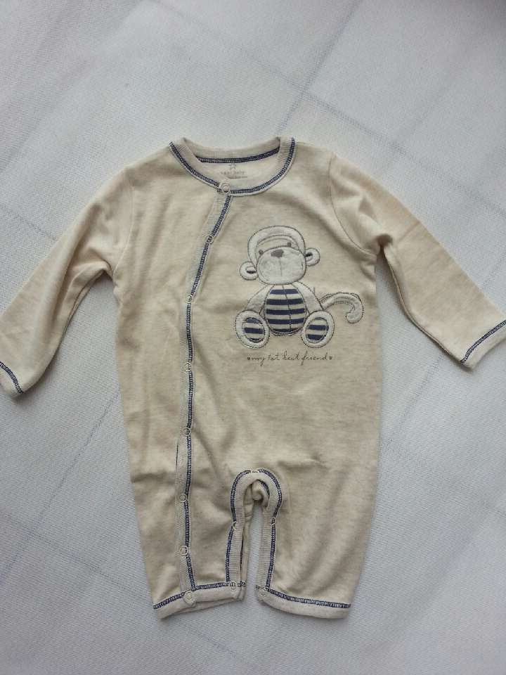 Retail sell 2015 baby clothing 100% cotton newborn baby boys rompers khaki color cartoon monkey baby boys clothes(China (Mainland))