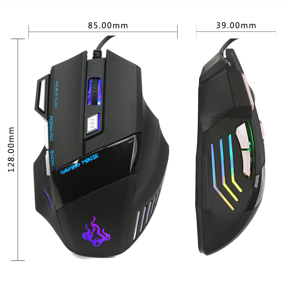 Wired Gaming Mouse 7 Buttons co Light 5500 Adjustable DPI Optical Gamer Mice computer mouse Perfect For LOL Gamer