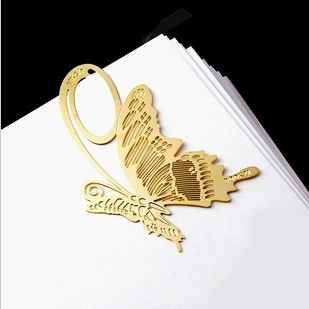 20pcs/lot Korean Chic Metal Bookmarks Custom Cutout Golden Butterfly Metal Book Markers Clips Decorative Crafts(China (Mainland))