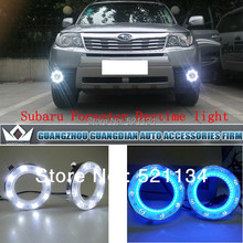 Night Lord 2011-2012 New Style Circle  LED DRL With Bule Turn Light For S-ubaru Forester drl Daytime Running Light Free shipping(China (Mainland))