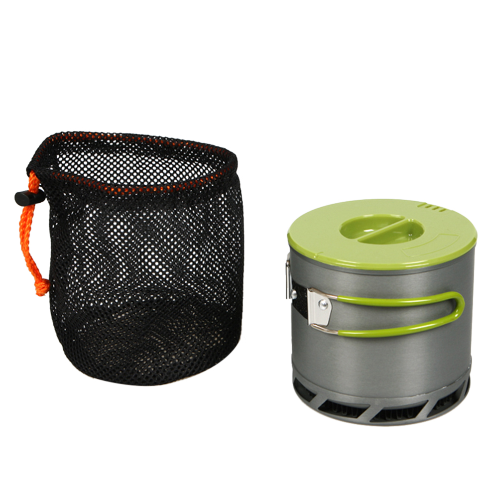 1.2L Portable Anodized Aluminum 1-2 People Outdoor Camping Cookware Heat Collecting Exchanger Cooking Pot with Mesh Bag(China (Mainland))