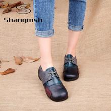 Модные Квартиры Для Женщин Обувь Из Натуральной Кожи Лоскутное Женщин Квартиры Обувь Мокасины Sapatilhas Femininos Повседневная Обувь Для Дам(China (Mainland))