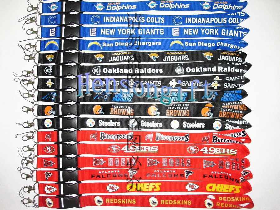 Free DHL Shipping Football Mobile Nect straps Men's sport neck Lanyard 32 Teams Mix Color(China (Mainland))