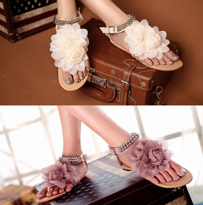 Sweet flower young girl shoes preppy style soft leather beaded casual flip-flop flat gladiator sandals plus size - Classic Women's boots store