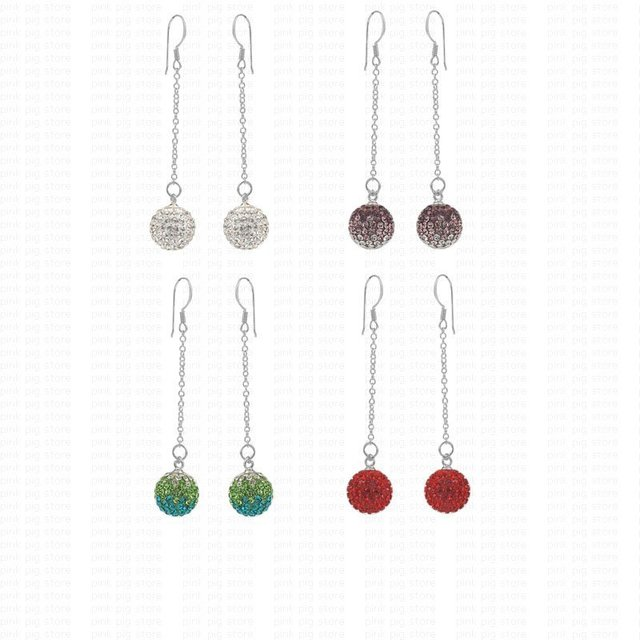Free shipping mixed colors 8pcs 12mm 925 sterling silver jewelry long line charms earring 925 rhinestone ball silver earrings
