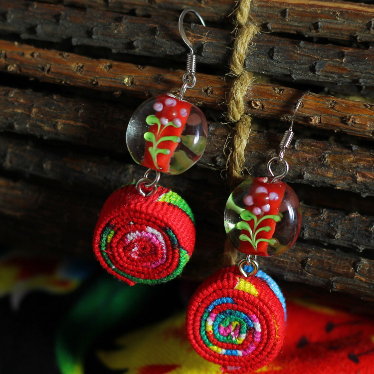 A Handmade Artwork -Chinese wind traditional fabric dangle earrings red, New Original Ethnic jewelry statement earrings(China (Mainland))
