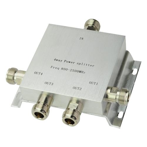 4 Way Power Splitter 800-2500MHz Signal Booster Divider for 3g cdma gsm dcs etc(China (Mainland))
