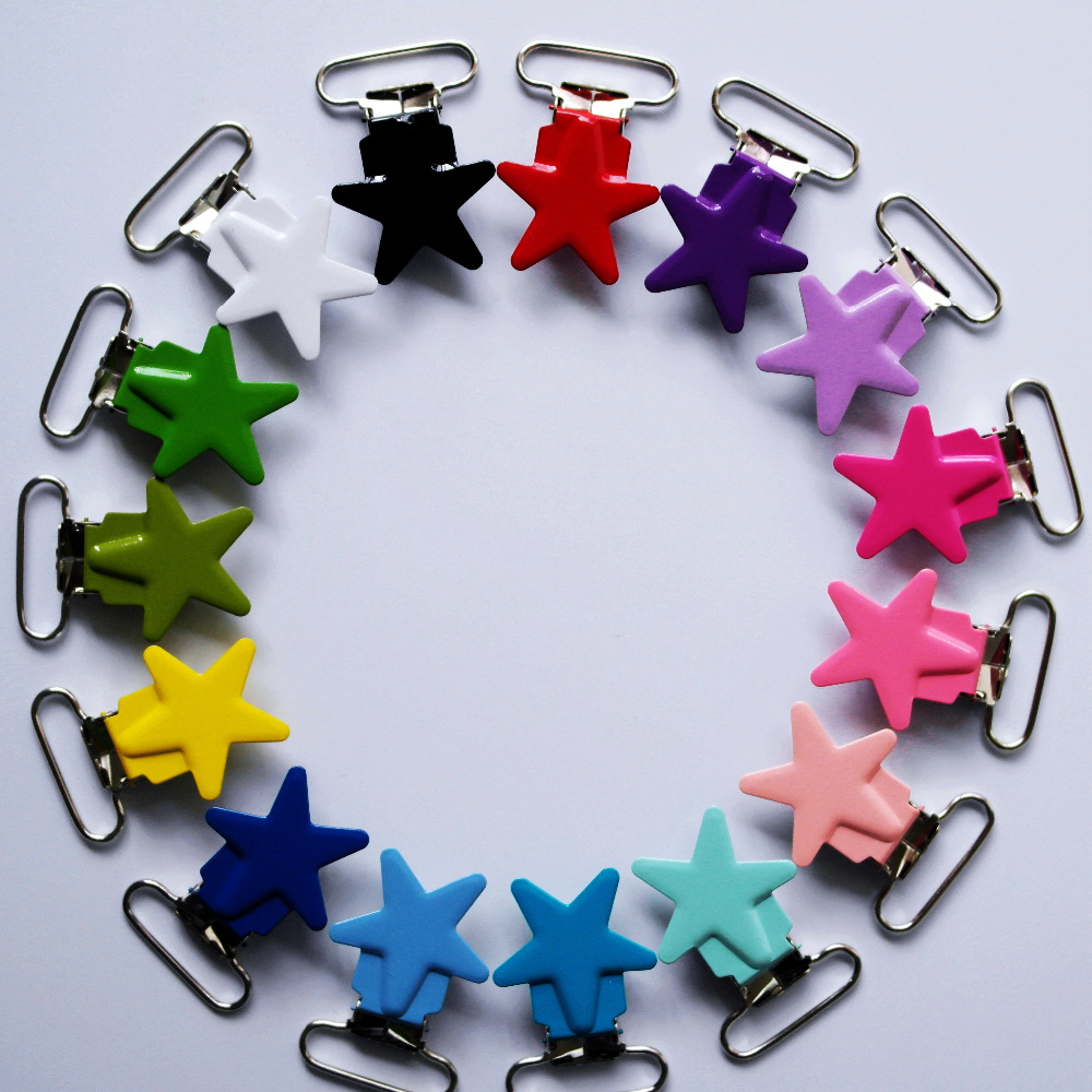 Hot Sell 150pcs 1'' 25mm 15 Colors Assorted Enamel Metal Star Pacifier Clips / Suspender Clips Suppliers&Manufacturers(China (Mainland))