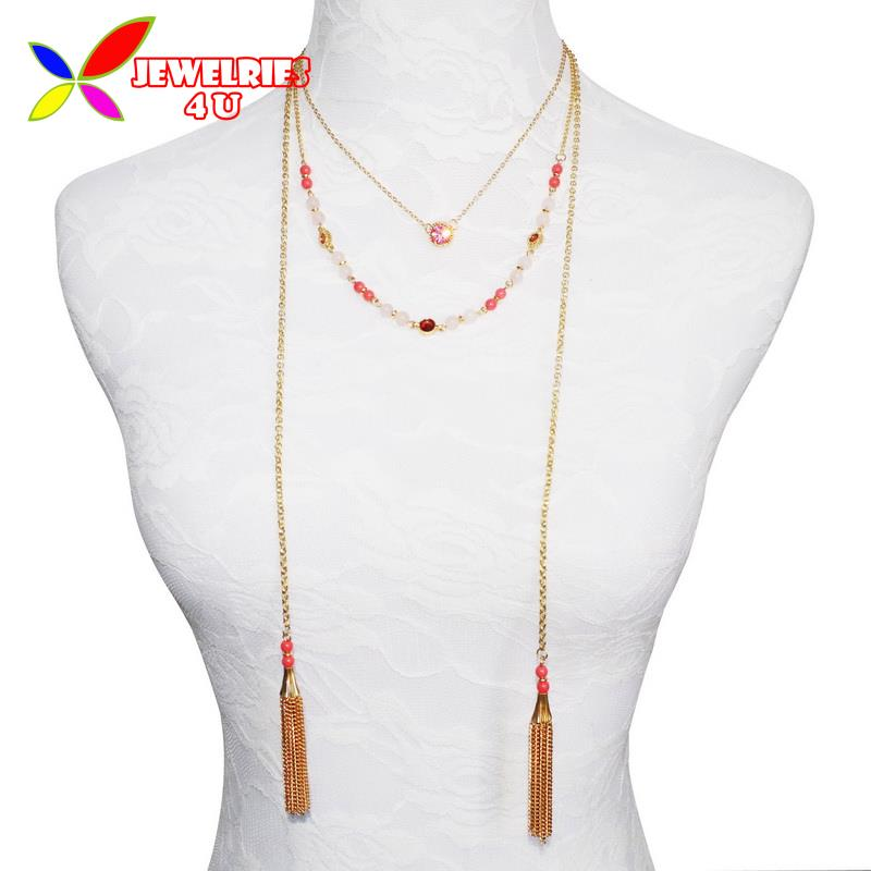 2016 Fashion Designer 3Layers Gold Tassel Nature Pink Druzy Stone Beaded False Collar Necklaces Pendants for Women Collares(China (Mainland))