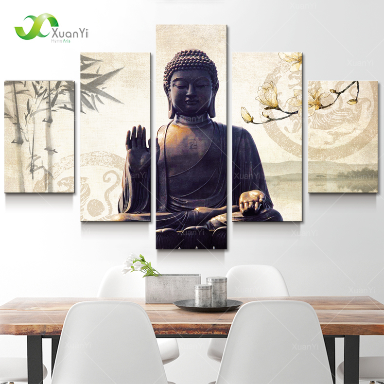 5 Panel Modern Printed Buddha Painting Picture Cuadros