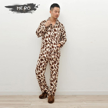 New Autumn and Winter coral velvet pajamas sets for men warm long-sleeved + trousers leisure fashion male Leopard sleepwear(China (Mainland))