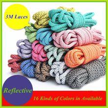 "2016 Bestselling Round Reflective Shoe Laces 3M Shoelaces 3M Rope Laces 49"" Rope Shoelaces - Free Shipping(China (Mainland))"