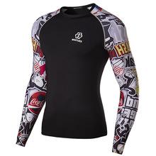 Autumn Man Sport T Shirt Quick Dry Cotton Breathable Patchwork Graffiti Gym Workout T shirt Exercise