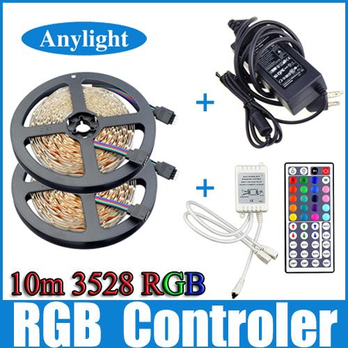 Гаджет  10m 3528 RGB Led Strip Light SMD 5M 300Leds SMD Flexible Strips + 44 key ir Remote Controller +DC 5A 12V transformer WLED51 None Свет и освещение