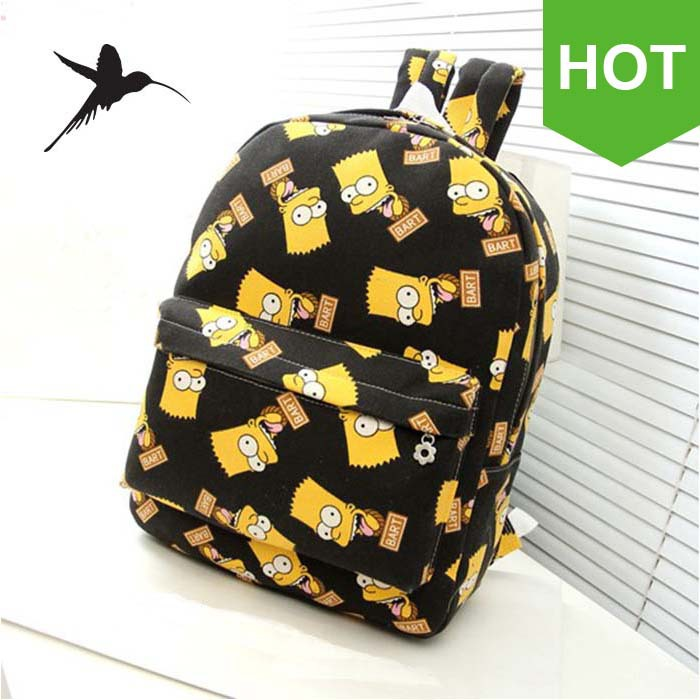 Bart Simpson Backpacks Fashion Canvas Backpacks Preppy Style School Backpacks Unisex Schoolbag Back Pack Rucksacks H62(China (Mainland))