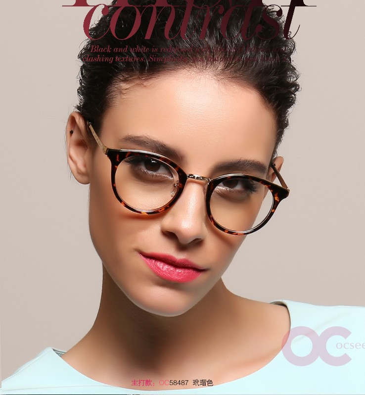 2015 Sale +100 Oculos Leitura Reading Glasses New Fashion Metal Women Glasses Quality Resin Round Frame Prevent Computer Radiant(China (Mainland))