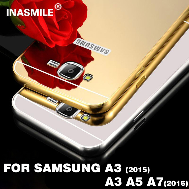 Mirror Aluminum Phone Case For Samsung Galaxy A3 2015 A3 A5 A7 2016 Anti-knock Luxury Metal Frame Slim Acrylic Back Cover case(China (Mainland))