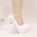 2017 White Lace Wedding Shoes Platforms Beautiful Women Pumps with Appliques Tassel Gorgeous Design Bridal Party