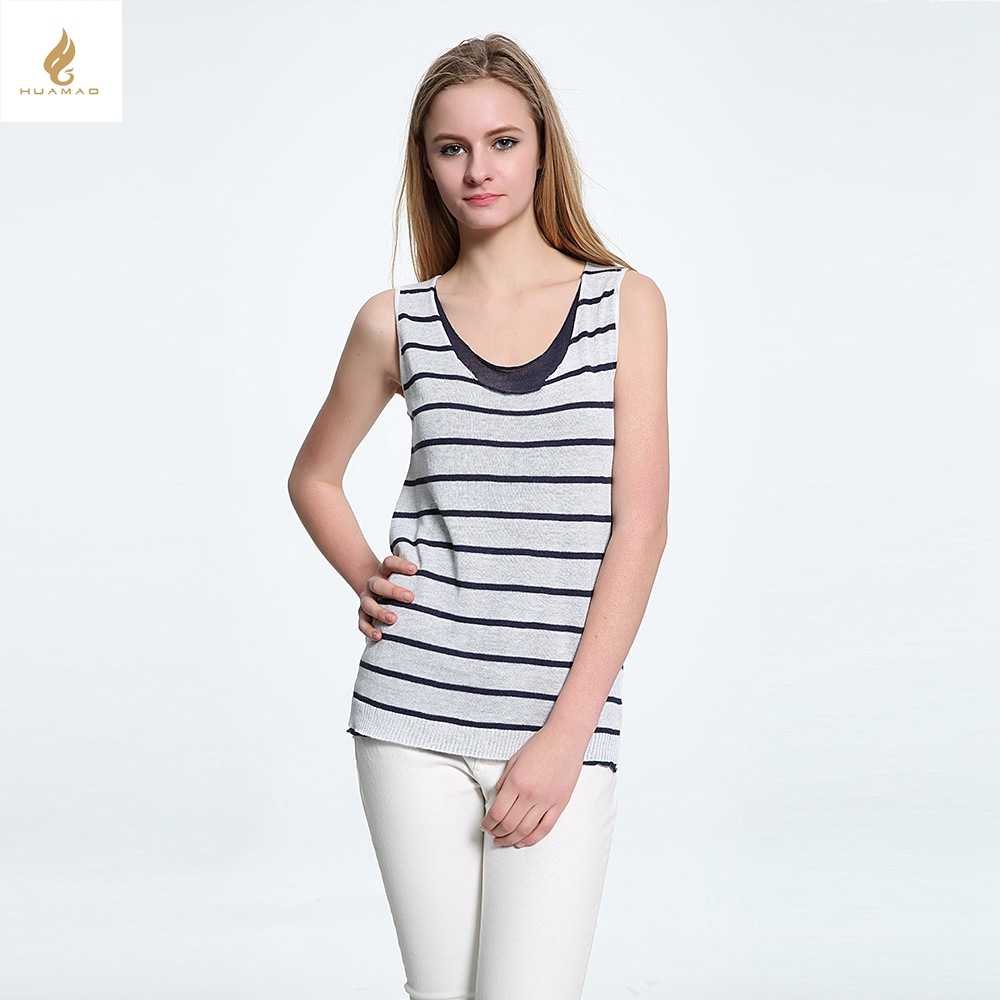 Black / white Stripe tank top high quality Women summer new fashion tank top ladies linen Thin knitting sweater vest(China (Mainland))