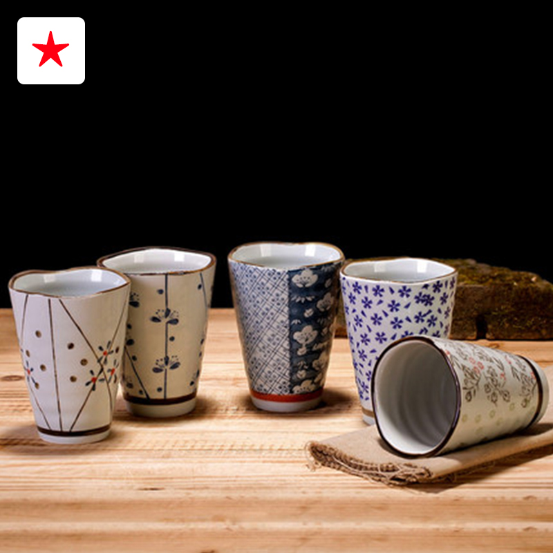 High grade Japanese ceramic tea cup hand painted milk cup and fruit juice cup liquor cups restaurant tableware two kind of style(China (Mainland))