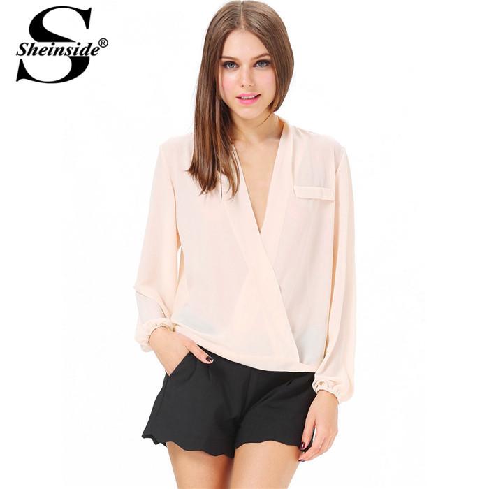 Женские блузки и Рубашки Sheinside 2015 V blouse140408050 женские блузки и рубашки choice 2015 sheinside blusas 3225