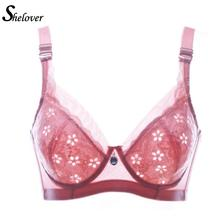 Shelover 2016 New Plus size push up bra sexy lace Breathable intimate brassiere thin cup bra full cup black pink bras for women