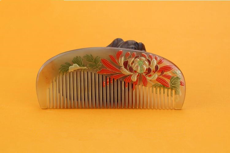 1pcs Natural Horn Comb Of Hair Health Care handmade Hair Brush Hairdressing Pocket no static Comb best gift cheap