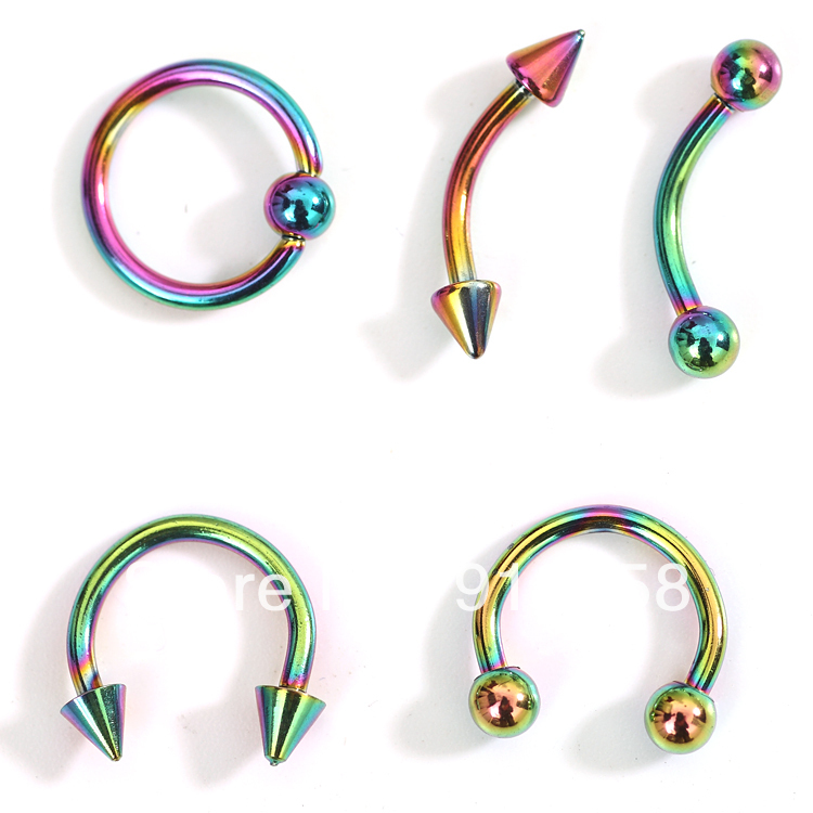 2014 New 50pcs Mix 5 styles Rainbow Color Vacuum Plating Stainless Steel Eyebrow Ring Belly Button Rings Body Piercing Jewelry(China (Mainland))