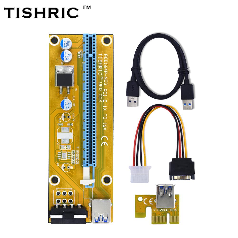 TISHRIC 2017 New VER006 Yellow PCI Express Riser Card USB 3.0 PCI-E extender 60cm 1x to 16x 4Pin Molex Power BTC Miner Machine(China (Mainland))