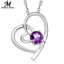 Buy 2016 New double loving crystal heart pendant jewelry fashion White purple CZ zirconia silver plated charm wholesale for $1.42 in AliExpress store