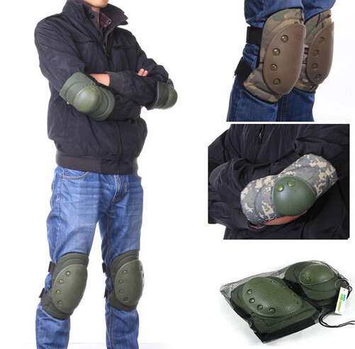 Knee Elbow Protective Pad 4pcs/pack Protector Gear Sports Tactical Cycling Straps Adjustable 4 Colors Hunting Knees Support Bag(China (Mainland))