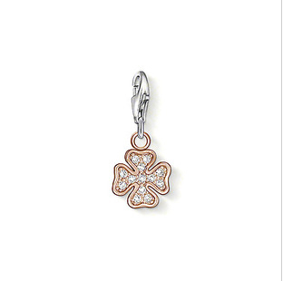 Classic New Rose Gold rhinestone Lucky Clover Charms Pendant With Lobster Clasp For Necklace or bracelet(China (Mainland))
