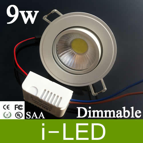 Cob 9W Led Recessed Downlight 110-240V Dimmable Warm/Pure/Cool White Led Ceiling Lights 120 Angle 550 Lumens CRI>85 + CE CSA SAA(China (Mainland))